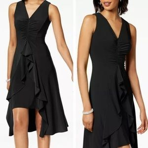 Taylor Black Ruched Ruffle V-Neck Flyaway Dress